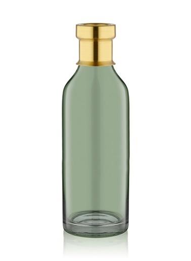 The Mia Cam Vazo Yeşil Gold Dekorlu 29*8 Cm Altın